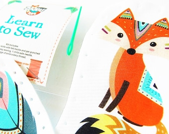 Easter Craft Kids Sewing Kit - Kids Craft Kit - Learn To Sew Kit - Gift Idea - My First Sewing Kit - Tribal Fox and Feather DIY