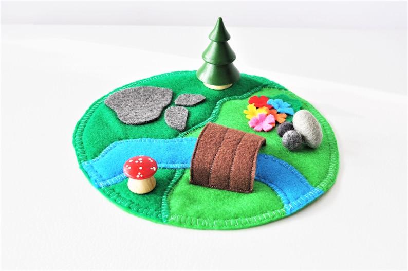 Mini Woodland Play Mat  Felt Play Mat  Small World Play  image 0