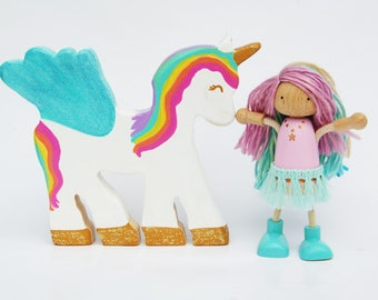 Pegasus Unicorn And The Fairy Pincess - Wooden Toy - Pink - Unique Gift - Zooble- Peg Dolls - Bendy Doll