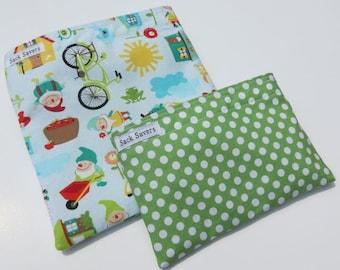 Reusable Sandwich and Snack Bag Set Eco Friendly Gnomes Polka Dots