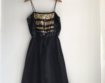 Black and Gold Spaghetti Strap Vintage Party Dress