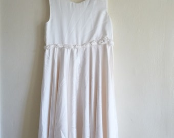 simple wedding dress, midi ivory two piece - lace and pearl bolero, large