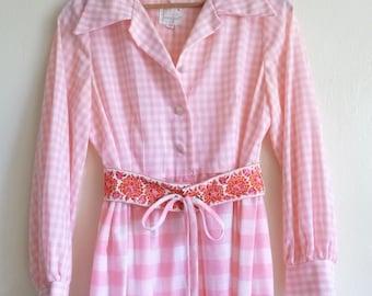 1970s pink white gingham maxi dress