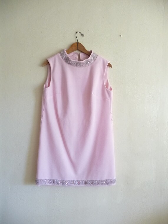 pastel pink shift mini dress, small medium