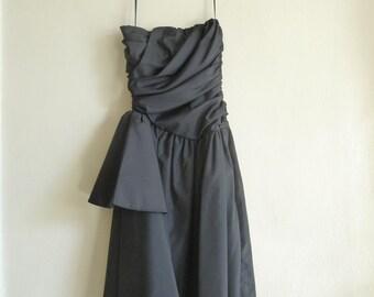 formal black strapless vintage dress, evening dress, xsmall small