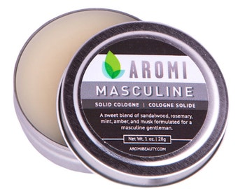 Masculine Solid Cologne, Men's Cologne, Fragrance, Stocking Stuffer, Musk, Gift for Him, Beard Wax, balm and salve, Alcohol Free Cologne