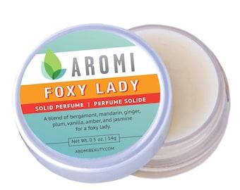 Foxy Lady Solid Perfume |  floral perfume,  women's solid perfume, women's fragrance, mandarin, perfume, tuberose, jasmine, vegan perfume