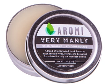 Very Manly Solid Cologne, Men's Fragrance, Travel Cologne, Vegan Cologne, Gift for dad, Fathers Day Gift, Balm and Salve, Cruelty-free Men