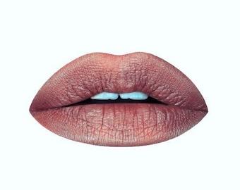 Peachy Tan Metallic Liquid Lipstick, Nude Liquid Lipstick, Metallic Lipstick, Tan Lipstick. Vegan Lipstick, Cruelty-free Lipstick, Shimmery