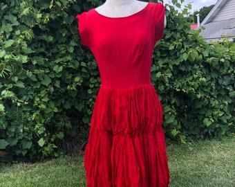 1950's Red Taffeta Ballgown