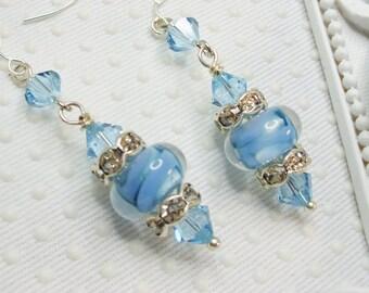Blue Boro lampwork earrings, SRA Lampwork Earrings, Swarovski elements and All SS 925 Earrings, Blue Earrings, Lampwork jewelry