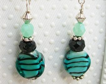 Teal Tigress lampwork 925 SS earrings, bali lampwork earrings, earrings, Christmas earrings, Dangle drop earrings