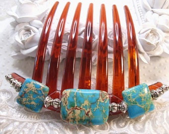 side hair combs Genuine Imperial Jasper Side Hair comb pair SS plated semi precious combs Prom Turquoise combs VS7 Wedding comb combs
