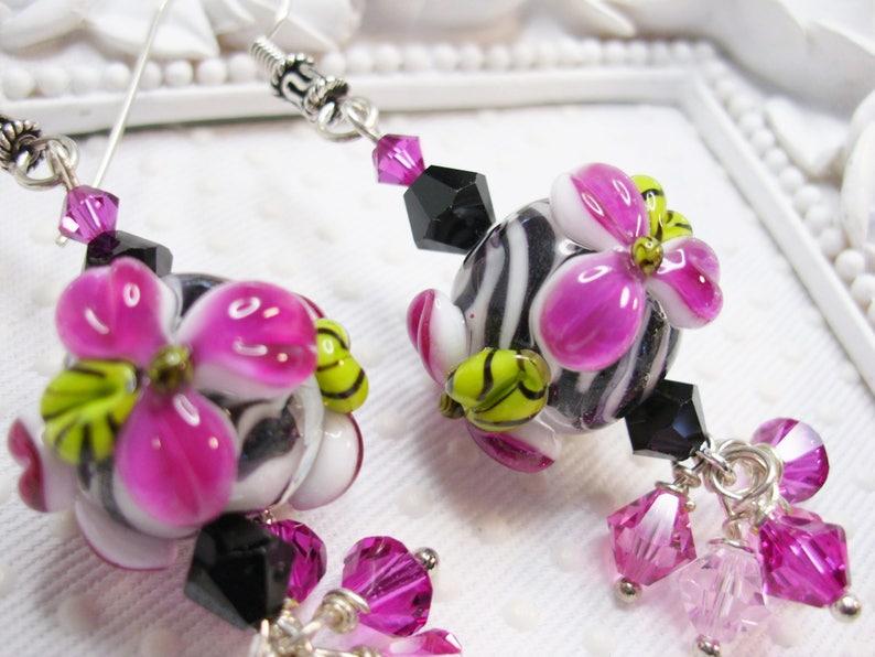 Animal print earrings Zebra earrings SRA lampwork Lotus flower earrings Jungle Earrings Exotic Earrings