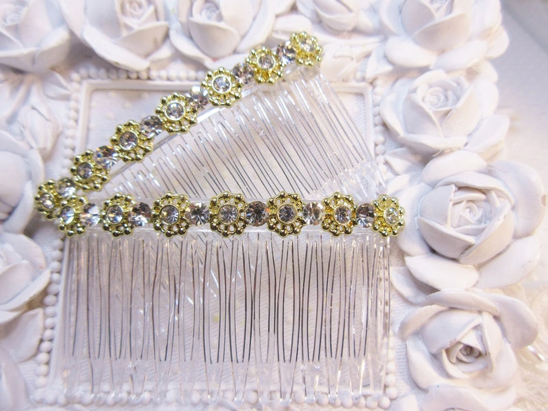 Clear combs Hair Comb Pair Hair comb Handmade Hair comb Pair gold tone Rhinestone Aztec design  /& Vintage 1968 Chaton Crystals