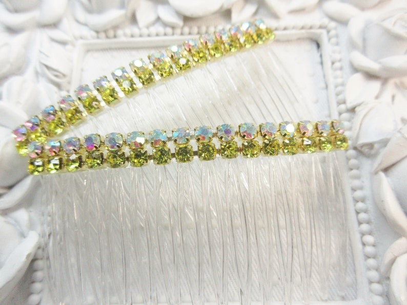 Double Row AB Clear and AB Jonquil color Rhinestone crystal side hair comb pair Prom hair combs Wedding combs side comb Prom hair combs