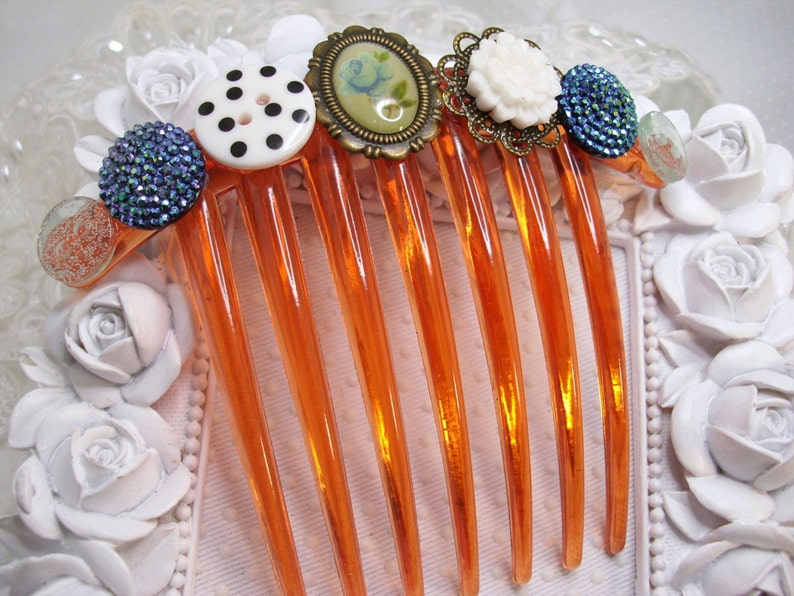 Blue Cameo Roses and Sculptural Roses Buttons Romantic French Comb Gift comb Downton Abbey inspired french comb Victorian look hair comb
