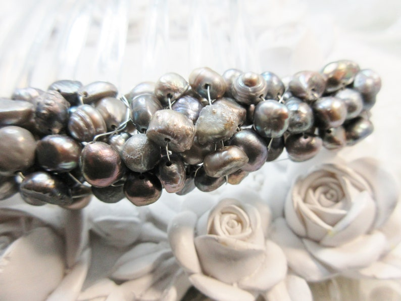 pearl comb Ultimate Luxury 125 Silver gray freshwater Pearls french hair comb comb Mother of the bride hair comb Black Tie french comb
