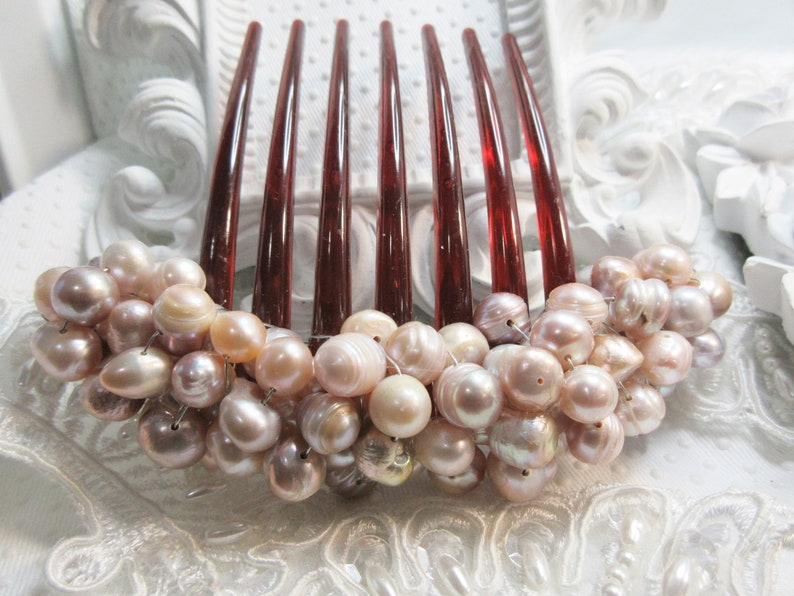 Freshwater Pearl French comb Bride hair comb Luxurious heavy beaded Champagne freshwater pearls 6 to 10 mm large french twist comb comb