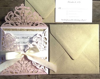 Shimmering Blush Pink and Gold Glitter Laser Cut Lace Wedding Invitation - *Sample* with Ivory Cream Ribbon Bow RSVP Card Shower Invitation