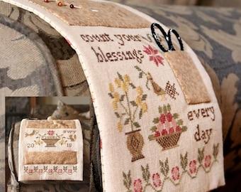 A Thankful Life Chairarm Pinkeep : Cross Stitch Pattern by Heartstring Samplery