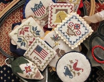 Festive Little Fobs Five, Americana Edition : Cross Stitch Pattern by Heartstring Samplery