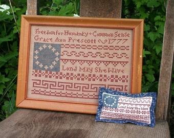 Long May She Wave : Cross Stitch Pattern by Heartstring Samplery