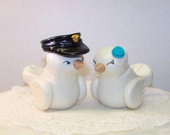Police Officer Wedding Cake Topper Love Birds Cake Topper- Customizable