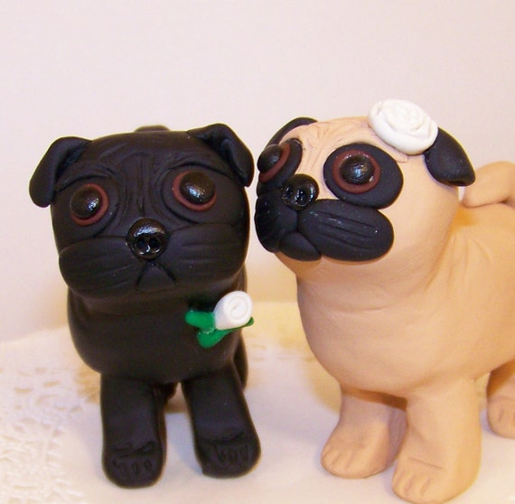 Custom Pug Dog Wedding Cake Topper Colors Of Choice
