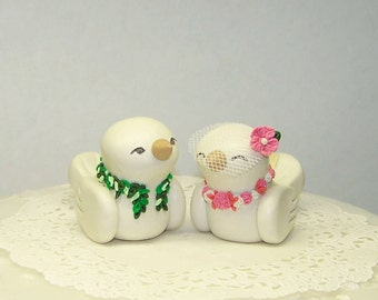 Hawaiian Wedding Cake Topper - Tropical Love Birds with Maile and Lei - Custom Colors of Choice- Shown in Coral, Pink and White