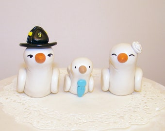 Firefighter Love Birds with Baby Bird Wedding Cake Topper  - Custom Large - Choice of Colors