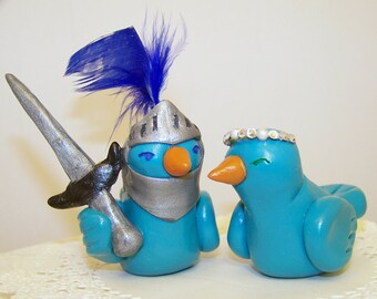 Custom Love Bird Wedding Cake Topper Birds - Knight and Princess - Colors of Choice
