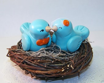 Custom Wedding Nest Cake Topper Birds - Colors of Choice - shown in Aqua/Light Teal and Orange