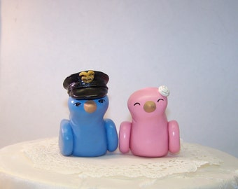 Police Officer Wedding Cake Topper Love Birds Cake Topper- Choice of Colors