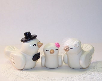 Lovebirds and Baby Wedding Cake Topper - Colors of Choice - Shown in Black, Blush Pink and White Ivory Accessories
