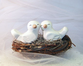 Bird Wedding Cake Topper LoveBirds - Cute Wedding Decor - Choice of Colors