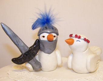 Custom Knight and Princess Wedding Cake Topper Birds - - Colors of Choice