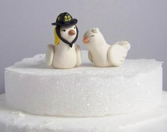 Firefighter Wedding Cake Topper Love Birds Cake Topper- Custom Small - Choice of Colors