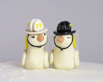 Firefighter Wedding Cake Topper Love Birds - Choice of Colors