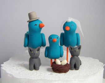 Bird Wedding Cake Topper-Family with Small Pets-Fully Customizable-Shown in Turquoise, Orange and Gray with Nest, Eggs, Baby & Kitty Cats