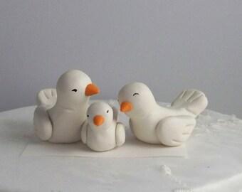 Bird Wedding Cake Topper with Baby Bird  -- Color(s) of Choice