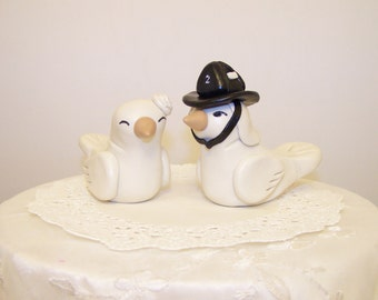 Personalized Firefighter Love Birds Wedding Cake Topper  - Custom Large - Choice of Colors