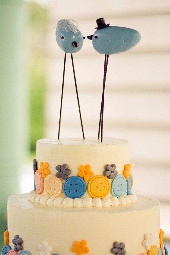 Rustic Lovebird Wedding Cake Topper with Top Hat and Veil | Etsy