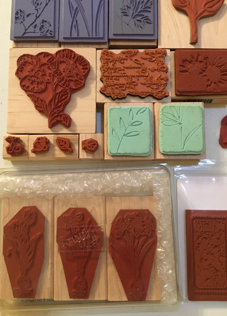 ART FLORA FAUNA rubber stamps floral birds rabbits roses bulbs poinsettia scrapbook mixed media unused altered stationary journal vintage