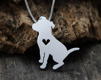 Pit bull necklace, tiny sterling silver hand cut necklace and pendant