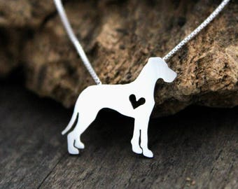Tiny Great Dane necklace, sterling silver hand cut dog pendant and heart,
