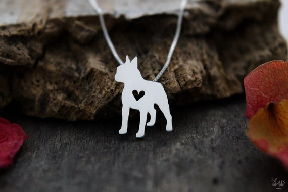 Tiny Boston Terrier Necklace Sterling Silver Hand Cut Pendant Etsy