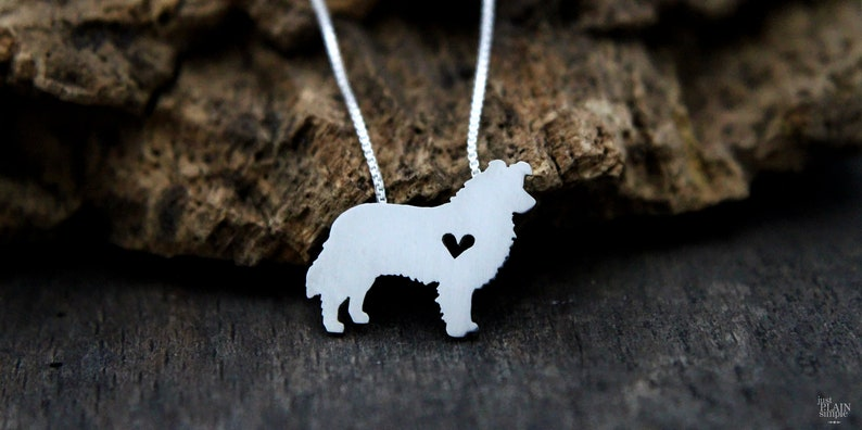 Tiny Border Collie necklace sterling silver hand cut pendant image 0