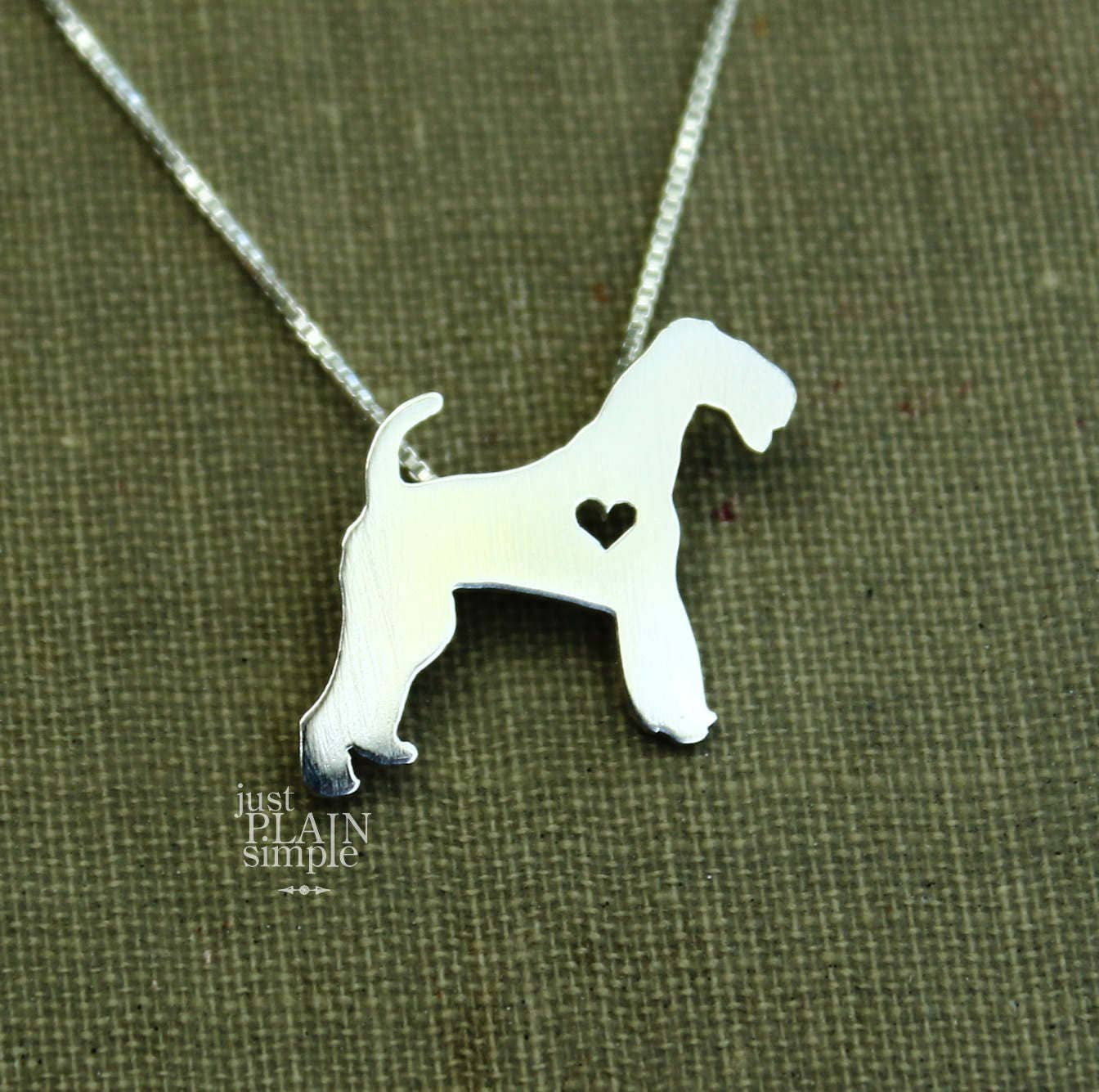 Tiny Airedale Terrier Necklace Sterling Silver Hand Cut Etsy