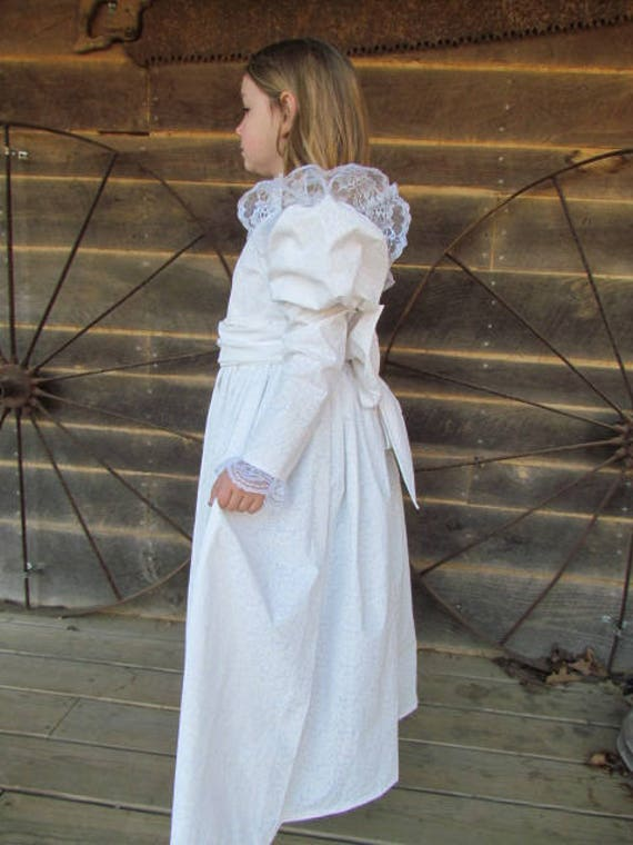 fb9d0f2f3a33c Historical Character Costume Old Fashioned 1800s Dress -White Helen Keller-  Child Size
